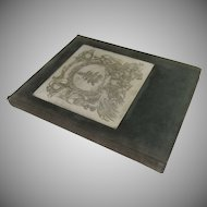 Vintage Leather Suede Journal Sketch Book Rag Edge Paper Engraved Printer's Plaque
