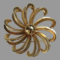 "Large Vintage Swirl Flower Brooch Pin 2"" Diameter"