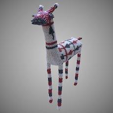 Vintage Beaded Wire Standing Animal Handmade Africa