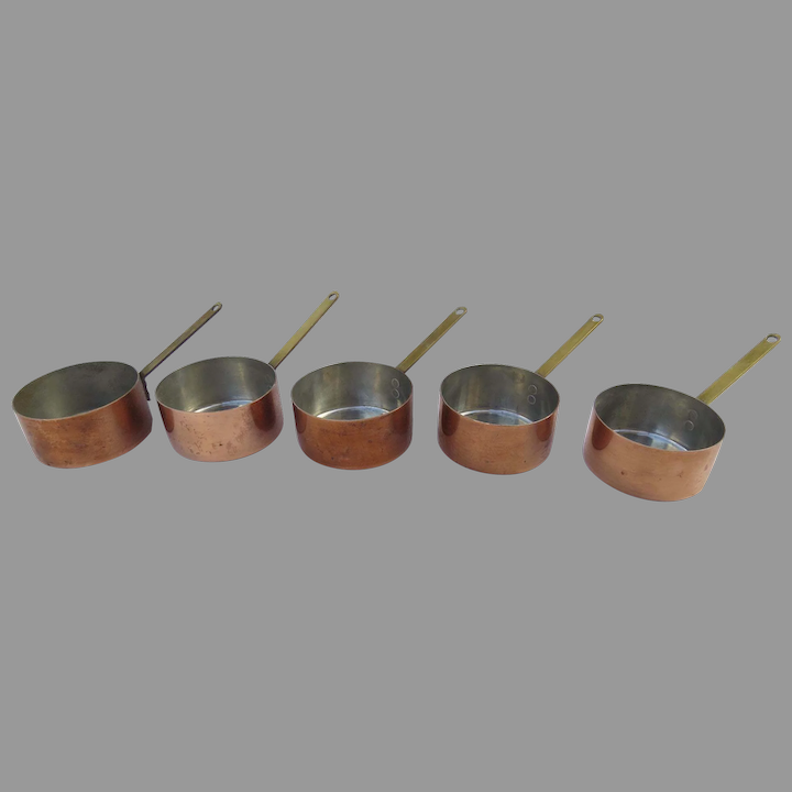 marked /& made in Italy Vintage copper butter warmer or small saucepan