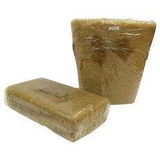 New Never Used J. C. Penny's Fashion Manor 1970's Faux Fur Velvet Bows Waste Basket Tissue Dispenser Gold