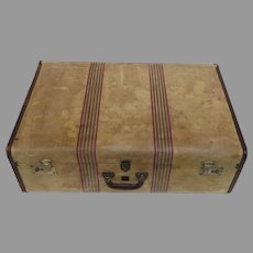 """Large 29"""" Atlas Striped Suitcase Luggage Well Traveled Prop"""