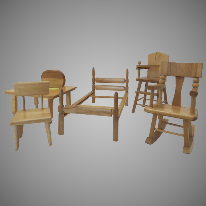 Fabulous Vintage Strombecker Doll Furniture High Chair Bed Mid Century Chair Rocking Chair Table Andrewgaddart Wooden Chair Designs For Living Room Andrewgaddartcom