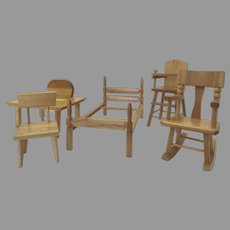 Vintage Strombecker Doll Furniture High Chair, Bed, Mid Century Chair, Rocking Chair, Table