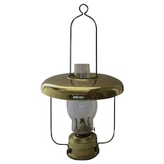 Vintage Brass Kerosene Lantern Light with Reflector Shade Made in Germany