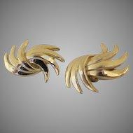 Vintage Gold Tone Trifari Clip Earrings