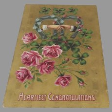 Vintage Post Card Printed in Germany Horseshoes Clover Engagement Hearties Congratulations