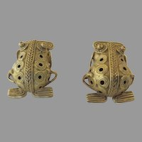Vintage PRE COLUMBIAN Replica Museum Reproduction Frog Toad Earrings 800 Silver Gold Plated Chibchan Tribal Style Gold Jewelry/ Panama to Costa Rican Style Jewelry PRE COLUMBIAN Replica Museum Reproduction Frog Toad