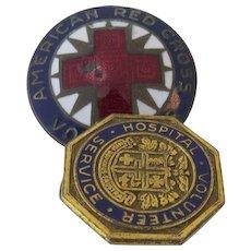 Vintage Enamel American Red Cross Volunteer Pin and Hospital Volunteer Service Pin