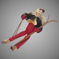 Vintage Christmas Ornament Figure Skier Felt Doll