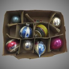Nine (9) Vintage Glass Christmas Ornaments Bell Tear Drop Stripe