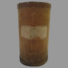 Vintage Tall Round Saigon Cinnamon Advertising Label Bin Drum Storage Farmhouse Country Mercantile General Store