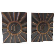 "Vintage 1940's 1950's Copper Finish Bookends Gothic Letter Monogram ""E"" Hyde Park by LE Mason Co."