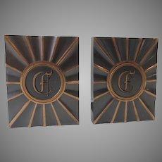 "Vintage 1940's 1950's Copper Finish Bookends Gothic Letter Monogram ""E"" Hyde Park by LE Mason Co."
