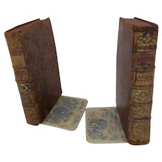 Pair French Antique Leather Bound Book Bookends