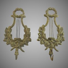 Vintage Cast Brass Nice Quality Lyre Shaped Wall Hook