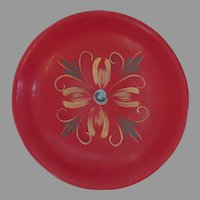 Bright Red Hand Painted Vintage Swedish Sweden Wooden Bowl