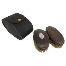 """1900's Men's Clothes Brush Set in Case by Howard Turtle Wood and  Sterling Inlay Initial """"B"""""""