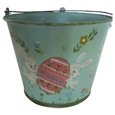 "Vintage Hand Painted Easter Bucket Basket 1970's ""Jessica"""