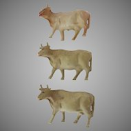 3 x Vintage Celluloid Cows Farm Animal