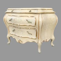 Large Venetian Italian Italy Painted Gilt Bombe Commode Chest of Drawers