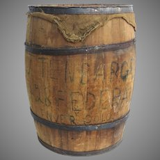 """Large Vintage Coopered Rustic Wooden Barrel General Store Storage 29 1/2"""" Tall 1900's"""