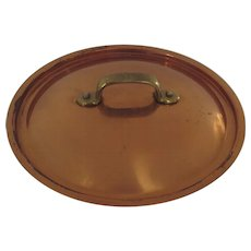 Vintage Copper Cast Brass Handle Pan Pot Lid 8""