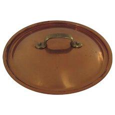 """Vintage Copper Cast Brass Handle Pan Pot Lid 8"""""""