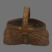 Vintage Hand Made Buttocks Market Basket Large Signed