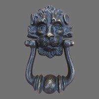 Vintage Cast Brass Lion's Head Door Knocker