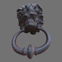 Late 19th Century Cast Iron Lion's Head Door Knocker