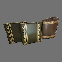 Four Vintage Leatherette Gold Tooled Bookends