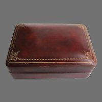 Large Vintage Gold Tooled Leather Box Made in Italy Italian