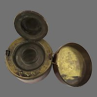 Late 19th Century Leather and Brass Traveling Inkwell