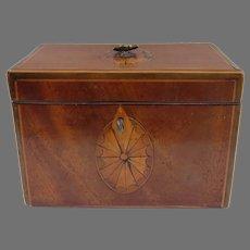 English Mahogany Fan Inlaid Tea Caddy Box c 1800