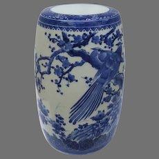 Vintage Older Japanese Blue White Garden Seat Stool Porcelain Seto Ware