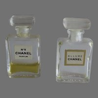 Two Vintage Chanel Perfume Bottles Mini NO.5 and Allure