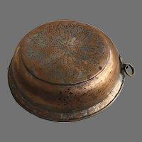 Vintage Copper Plated Colander Sieve Fruit Bowl Punch Work Country Kitchen