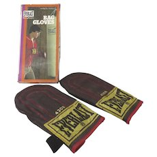Vintage Everlast 4308 Leather Boxing Speed Bag Training Gloves With Metal Inserts with Box