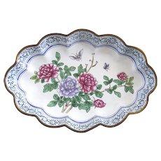 Vintage Chinese Enamel Dish Tray Scalloped Edge Chrysanthemum B.2195
