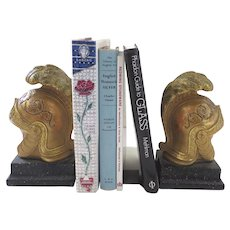Vintage Roman Helmet Bookends by Borghese Plums Feathers Gilt B.2177