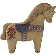 Carved Painted Vintage Dala Swedish Horse Signed Dated