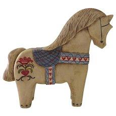 Carved Painted Vintage Dala Swedish Horse Signed Dated