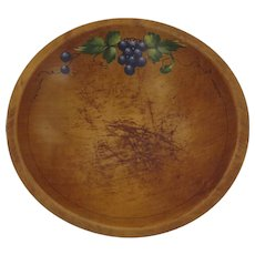 Vintage Forsythe Products Co., Grand Rapids, Michigan Wooden Bowl Painted Grapes c 1940's 1950's