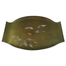 Vintage Japanese Lacquer Lacquered Tray Shaped Bird