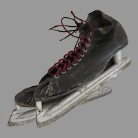 Vintage Leather Men's Ice Hockey Skates Prop Decor