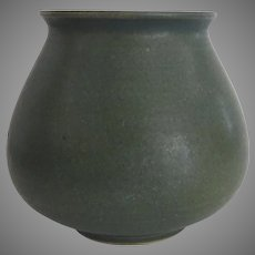 Nichibei Potters Classic Vase Signed Jade Green Color Japanese