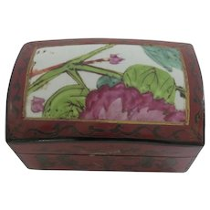Vintage Chinese Lacquer Box with Inset Porcelain Top