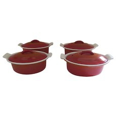 Vintage Set of Four (4) Descoware Cast Iron Enameled Red Orange Small Individual Casseroles Dutch Oven FE 14