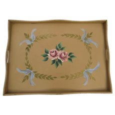 Vintage Painted Bed Serving Tray Floral Peach